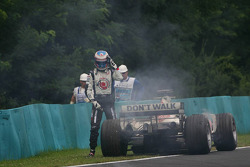 Jenson Button after his engine blew up
