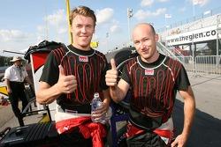 Pole winner Alex Gurney celebrates with teammate Jon Fogarty