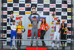 GT Cup Race podium: race winner Colin Thompson, second place Sloan Urry, third place Alec Udell