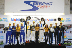 P class podium: Joao Barbosa, Sébastien Bourdais, Christian Fittipaldi, second place Ricky Taylor, Jordan Taylor, Max Angelelli, third place Richard Westbrook, Michael Valiante, Mike Rockenfeller
