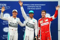 Qualifying top three in parc ferme (L to R): polesitter Lewis Hamilton, Mercedes AMG F1, second place Sebastian Vettel, Ferrari, third place Nico Rosberg, Mercedes AMG F1