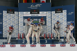 Podium: race winners Benoit Tréluyer, Marcel Fassler, Andre Lotterer, second place Romain Dumas, Neel Jani, Marc Lieb, third place Anthony Davidson, Sébastien Buemi, Kazuki Nakajima