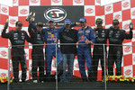 GT1 podium: overall and class winners Karl Wendlinger and Philipp Peter, with second place Michael Bartels and Andrea Bertolini, and third place Jamie Davies and Thomas Biagi