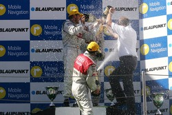 Podium: champagne for Martin Tomczyk, Bernd Schneider and Heinz-Harald Frentzen