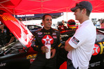 Juan Pablo Montoya discusses with Reed Sorenson