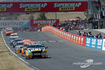 Jason Bright takes the lead after Skaife's crash
