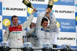Podium: Bruno Spengler gets a champagne shower from Tom Kristensen, Jamie Green and Hans-Jürgen Mattheis