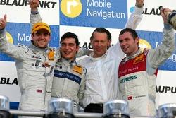 Podium: race winner Bruno Spengler with Jamie Green, Tom Kristensen and Hans-Jürgen Mattheis