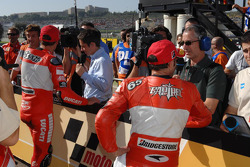 Race winner Troy Bayliss and Loris Capirossi in parc fermé