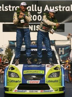 Podium: champagne for Mikko Hirvonen and Jarmo Lehtinen
