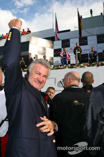 Willi Weber, Seat Holder of A1Team Germany celebrates Nico Hulkenberg's win