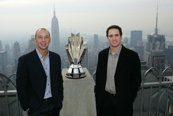 Championship crew chief Chad Knaus and 2006 NASCAR NEXTEL Cup Series Champion Jimmie Johnson pose for a photo at the Top of the Rock Observation Deck at Rockefeller Center