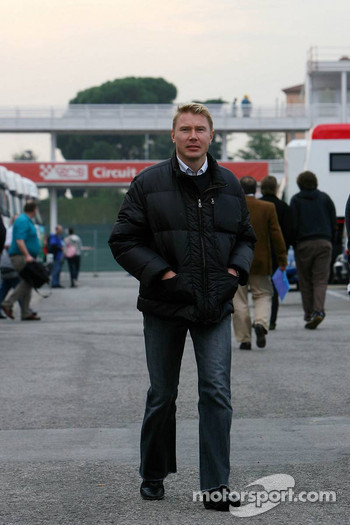 Mika Hakkinen arrives at the circuit