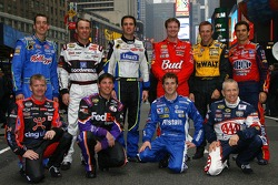 The top 10 drivers in the NASCAR NEXTEL Cup Series pose for a photo in Times Square