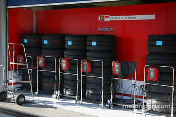 Tyres warming outside Scuderia Ferrari