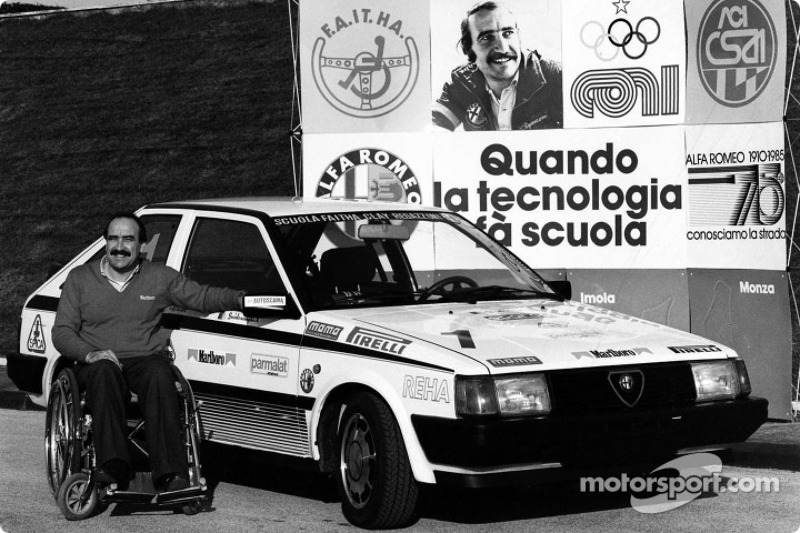 Clay Regazzoni in a wheel-chair at his Alfa Romeo sponsored racing driver school for handicapped people at Vallelunga