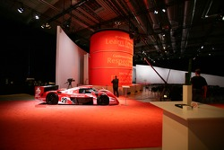 Toyota race cars on display before the start of the presentation