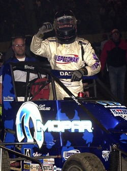 Dave Darland celebrates his victory in Friday night's Oklahoma Dodge  Dealers Qualifying feature event