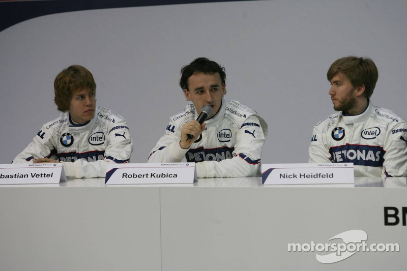 Sebastian Vettel, Robert Kubica and Nick Heidfeld