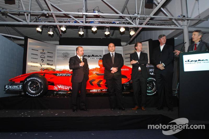 Mike Gascoyne, Spyker F1 Team, Chief Technology Officer, Colin Kolles, Spyker F1 Team, Team Principal, Michiel Mol, Director of Formula One Racing, Spyker and Spyker F1 Team and Victor Muller, Chief Executive Officer of Spyker Cars N.V. and Spyker F1 Team