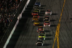 Mark Martin leads Kyle Busch with one lap to go