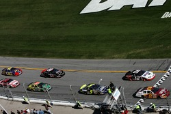 Clint Bowyer and Sam Hornish Jr. lead the field on a restart