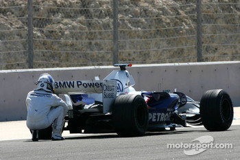Nick Heidfeld stops on track