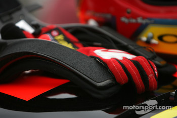 Racing gloves and HANS device of Juan Pablo Montoya