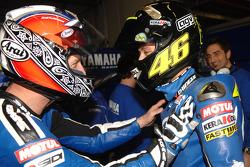 BMW M Award winner Valentino Rossi celebrates with Colin Edwards