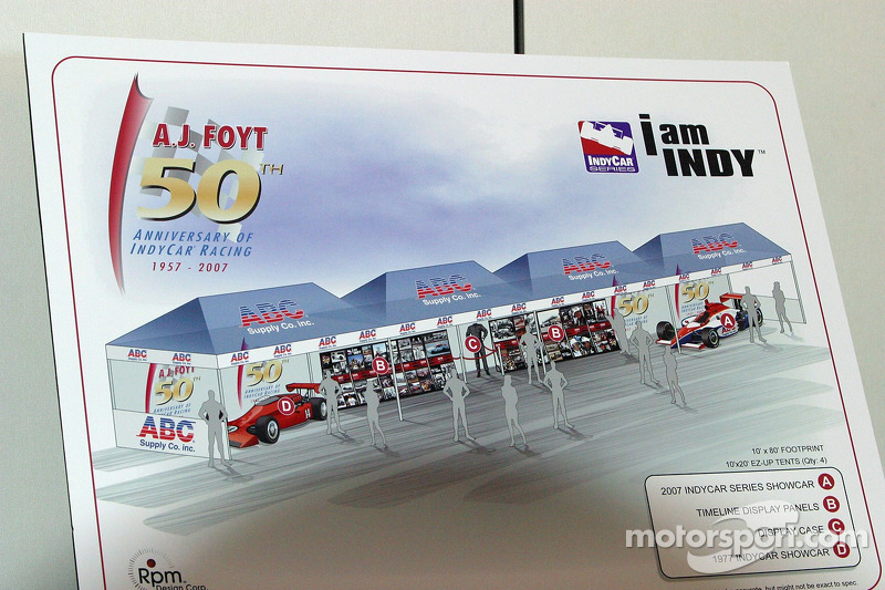 Conception drawing of the 50th Anniversary in Indy Car Racing timeline display for A.J. Foyt Jr.'s anniversary