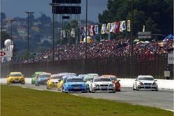 Start, Alex Zanardi, BMW Team Italy-Spain, BMW 320si WTCC, Robert Huff, Team Chevrolet, Chevrolet Lacetti