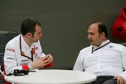 Stefano Domenicali, Scuderia Ferrari, Sporting Director and Colin Kolles, Spyker F1 Team, Team Principal