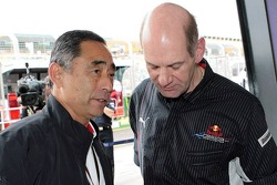 Adrian Newey, Red Bull Racing, Technical Operations Director and Hiroshi Yasukawa, Bridgestone