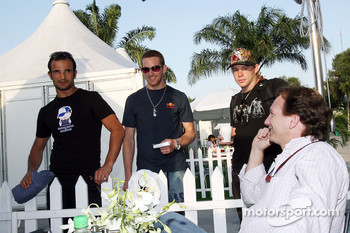 Vitantonio Liuzzi, Scott Speed, his brother Alex and sporting director Christian Horner