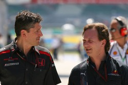 Nick Fry, Honda Racing F1 Team, Chief Executive Officer and Christian Horner, Red Bull Racing, Sporting Director