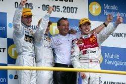 Podium, Gary Paffett, Persson Motorsport AMG Mercedes Paul di Resta, Persson Motorsport AMG Mercedes Mike Rockenfeller, Audi Sport Team Rosberg