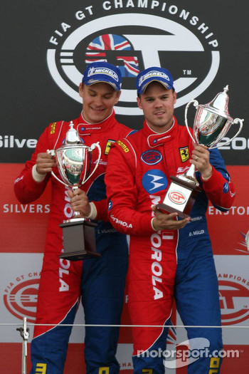 GT2 podium: class winners Toni Vilander and Dirk Muller