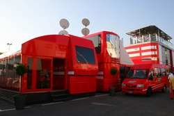 The older Ferrari motorhomes with the new motorhome in the background
