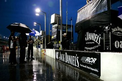 Jack Daniel's Chevy pit area in the rain