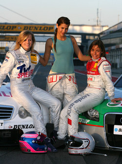The female drivers in the DTM posing with Lara Croft: Susie Stoddart, Mücke Motorsport AMG Mercedes, Karima Adebibe and Vanina Ickx, TME