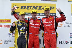 Podium: race winner Gordon Shedden, second place Matt Neal, third place Adam Morgan