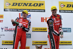 Honda Yuasa Racing duo Gordon Shedden and Matt Neal celebrate on the podium