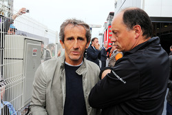 (L to R): Alain Prost, with Frederic Vasseur, ART GP Boss