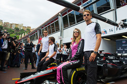 (L to R): Cristiano Ronaldo, Football Player with Fernando Alonso, McLaren; Cara Delevingne, Model, and Jenson Button, McLaren