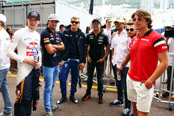 (L to R): Max Verstappen, Scuderia Toro Rosso; Carlos Sainz Jr., Scuderia Toro Rosso; Marcus Ericsson, Sauber F1 Team; Sergio Perez, Sahara Force India F1; Felipe Nasr, Sauber F1 Team; Will Stevens, Manor F1 Team; Marcus Ericsson, Sauber F1 Team, on the d