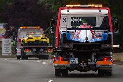 Trouble for an LMP2 car and #63 Corvette Racing Corvette C7.R: Jan Magnussen, Antonio Garcia, Ryan Briscoe
