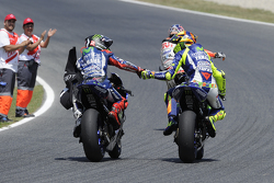 Winner Jorge Lorenzo and second place Valentino Rossi, Yamaha Factory Racing