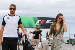 (L to R): Jenson Button, McLaren with his wife Jessica Button
