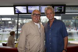 Michael Douglas with Hans werner Aufrecht,  founder of AMG Engine Production and Development