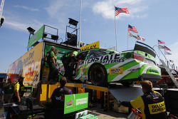 The backup car of Kyle Busch, Joe Gibbs Racing Toyota is pulled from the hauler